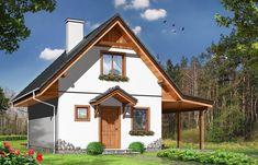 Projekt domu Szarejka – 63.63 m2 - koszt budowy 65 tys. zł Narrow Lot House Plans, Tiny House Plans, Exterior Design, Interior And Exterior, Cottage Style Homes, Apartment Layout, Wooden Cabins, Facade House, Home Fashion