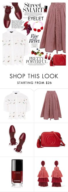 """""""Peek-A-Boo: Eyelet"""" by martinabb ❤ liked on Polyvore featuring Topshop, Tome, Tory Burch, Gucci, Chanel and Oscar de la Renta"""