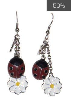 #kookai #jewels - Orecchini con pendenti coccinella e margherita