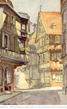 Colmar Rue des Marchands - 1 Colmar Alsace, Strasbourg, Village Drawing, Pen And Wash, Medieval Houses, Perspective Art, Tudor Style, House Drawing, France Travel