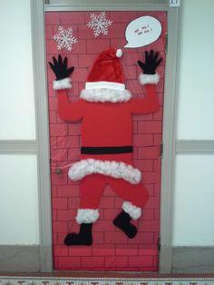 Door decorating contest idea - Santa & dorm door decorations | Surviving College | Pinterest | Dorm door ...