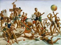 Charles Meere    (Australia 1890–1961)    Title      Australian beach pattern   Other titles:      Beach Pattern  Place of origin      Sydney → New South Wales → Australia  Year      1940  Media category      Painting   Materials used      oil on canvas  Dimensions        91.5 x 122.0cm stretcher
