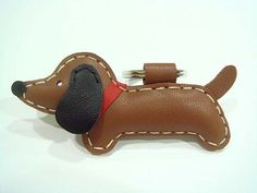 Leather Keychain  Jemma the Brown dachshund by leatherprince, $19.90 - saw this and thought of you mel!
