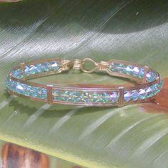 4mm Aqua 2X Crystal Bar-Style Bracelet | 4mm aqua blue doubl… | Flickr