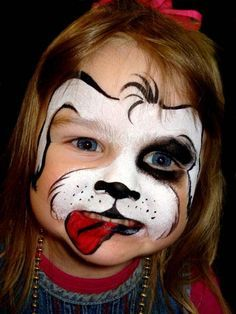 Face Painting Dog or Puppy, Whole Face Christina D - Face Painters - About Faces Entertainment Puppy Face Paint, Dog Face Paints, Face Painting Halloween Kids, Painting For Kids, Animal Face Paintings, Animal Faces, Face Painting Designs, Paint Designs, Maquillaje Halloween