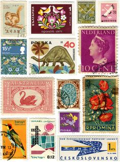 vintage stamps - Cotton & Flax - Snail Mail Sunday
