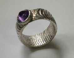 Cuttlefish Ring with Amethyst Lavender Amethyst Necklace Amethyst Jewelry, Amethyst Necklace, Silver Jewelry, Silver Rings, Unique Jewelry, Jewelry Ideas, Cuttlefish, Metal Casting, Metal Working