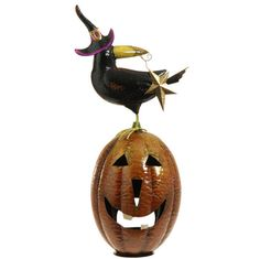 Preorder NEW Halloween 2015 item....Shelley B Home and Holiday - RAZ Metal Jack O Lantern with Crow, $65.00 (http://shelleybhomeandholiday.com/raz-metal-jack-o-lantern-with-crow/)