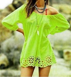 Neon Green Openwork 3/4 Sleeve Blouse For Women