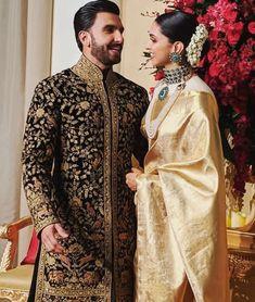 Deepika Padukone And Ranveer Singh Look Every Bit Royal As They Kickstart Their Wedding Reception - HungryBoo Bollywood Couples, Bollywood Wedding, Bollywood Celebrities, Bollywood Fashion, Bollywood Actress, Vintage Bollywood, Bollywood Style, Celebrities Fashion, Indian Reception Dress