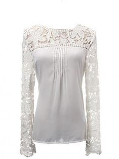Hollow Lace Long Sleeve Front Chiffon Fold Women Blouse