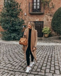 Shop Your Screenshots™ with LIKEtoKNOW. Fall Fashion Outfits, Autumn Fashion, Casual Outfits, Cute Outfits, Camel Coat Outfit, Relaxed Outfit, Cardigan Outfits, Urban Outfitters Tops, Brown Fashion