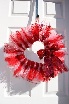 Beautiful Valentines Day Heart Tulle Wreath by WreathsByAdina