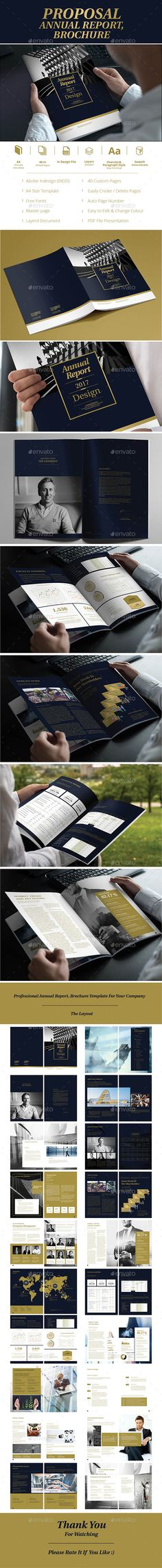 Annual Report Gold Brochure Template Vector EPS, InDesign INDD