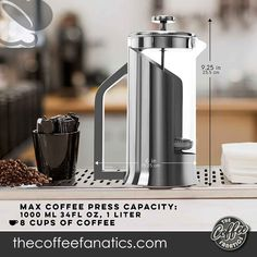 Lafeeca French Press Coffee Maker with Borosilicate Glass - Stainless Steel Lid Double Filtration System Large 34 oz 1000 ml Polished. Barista-quality coffee within the comfort of your own kitchen. No more spills! Easily pour cup after cup of tasty coffee without fatigue or sore hands, due to the smart-grip, easy-pour handle that has great control. Best French Press Coffee, Sore Hands, Barista, Coffee Cups, Kitchen Appliances, Tasty, Handle, Good Things, Stainless Steel