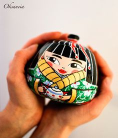 Hand-painted Japanese Doll Porcelain Sugar Bowl by Oksancia, via Flickr