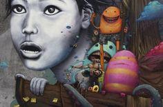 """Détail fresque murale - By Liliwenn et Bom K à Brest City - France - Projet """"Crimes of Minds"""" 2012"""