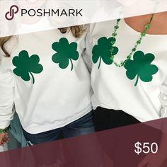 Hazel Boutique St. Patrick's Day Sweatshirt White Crew Neck St. Patrick's Day Sweatshirt Hazel Boutique  Tops Sweatshirts & Hoodies