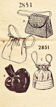 Pattern Bureau Fashion Service #2851 1940s Vintage Sewing Pattern: Mail Order pattern contains patterns and instructions for two purses, a