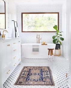 """7,148 Likes, 76 Comments - MyDomaine (@mydomaine) on Instagram: """"Blessing your feed (and Friday) with this beautiful bathroom. Swipe for another look. That's all…"""""""