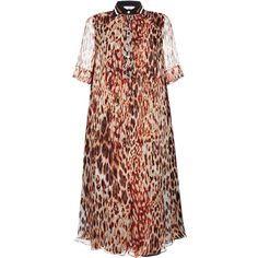 Bouchra Jarrar Animalier Printed Muslin Dress (137,590 DOP) ❤ liked on Polyvore featuring dresses, loose fit dress, woven dress, loose fitting dresses, short sleeve dress and loose dress