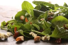 Watercress and Arugula Salad with Blue Cheese, Dates, and Almonds.  *** Also add some caramelized shallots/onions for an extra YUMMY factor!