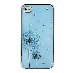 Blue Elegant Dandelion Pattern Rhinestones iPhone 4/4S Aluminium Case
