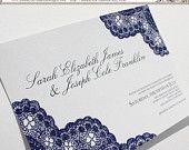 Dark Blue Vintage Antique Lace -- Any Color  Wedding Invitation Set  http://medleysinvitations.etsy.com  www.MedleyInvitationDesigns.com