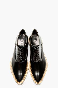 Acne Studios Black Leather Carla Oxfords.. #Acne #AcneStudios #Oxfords