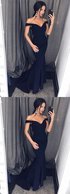 Sexy Mermaid Off-Shoulder Black Satin Long Prom Dress Evening Dress