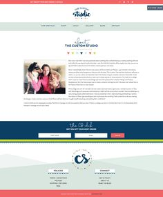 The Custom Studio Brand and Website Designby Dapper Fox Design - Bright, Modern, Feminine, Lime Green, Navy, Coral Pink Color Palette with Hand Lettered Script Brush Font and e-commerce shop About Page