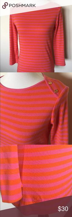 """NWT Lilly Pulitzer Kathy Boat Neck Top medium NWT 3/4 sleeve 100% cotton top by Lilly Pulitzer. Part of the Palm Beach Collection, this shirt is the Kathy Boatneck in pink and orange """"strawberry sassy stripe"""". Two gold buttons adorn the left shoulder. Size Medium. Original Retail $78. Lilly Pulitzer Tops Tees - Long Sleeve"""