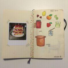 Rachel Khoo's Kitchen Notebook illustration Strawberry and black pepper cake
