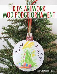 I love this kids artwork ornament
