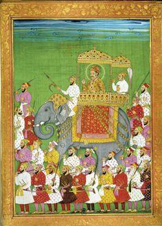 Akbar sobre un elefante  Esta miniatura ilustraba el relato de un viajero veneciano, Niccolo Manucci, del siglo XVII. Muestra a Akbar en una procesión acompañado por su corte. Biblioteca Nacional, París.