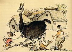 Peru 1 (Giant Llama Led Through Village), 1925    TM & © 1995 Dr. Seuss Enterprises