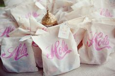 Welcome bags for a destination wedding.