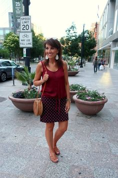 Tie Tank Top with Shift Skirt (Cyndi Spivey) Summer Outfits Women, Casual Fall Outfits, Hot Weather Outfits, Skirt Fashion, Fashion Outfits, Cyndi Spivey, Animal Print Skirt, Summer Skirts, Summer Clothes