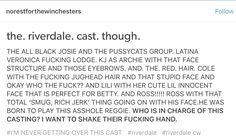 Riverdale (AND LET'S NOT FORGET about Trevor & Madelaine's immaculate fucking faces!!! Blossoms got me SHOOK, though!)