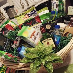 Green theme gift basket get well soon, hospital gift basket
