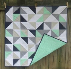 Mint, Grey, Navy and White Triangle Baby Quilt