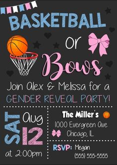 Basketball or Bows Invitation. Basketball or Bows Gender Reveal Invitation. Basketball or Bows baby shower. Basketball Gender Reveal, Twin Gender Reveal, Gender Reveal Party Games, Gender Reveal Themes, Gender Reveal Party Invitations, Gender Reveal Party Decorations, Baby Shower Gender Reveal, Reveal Parties, Gender Party
