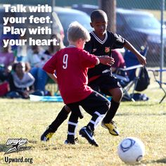 Competition on a kids soccer field - Talking with your feet, and playing with your heart.