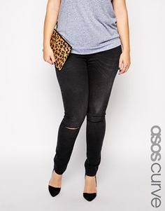 Gray tee, black ripped knee jeans, leopard clutch, d'orsay flats