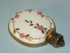 Vintage Antique Victorian French Enameled White Opaline Milk Glass Perfume Scent Bottle