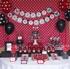 DIY Minnie Mouse Red Deluxe PRINTABLE birthday party package red black. $35.00, via Etsy.