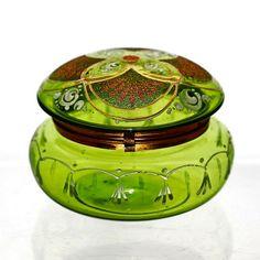 Antique Moser Bohemian Green Enameled Art Glass Hinged Jewelry Box Powder Jar | eBay