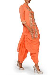 SANNA MEHAN Cowl drape orange kurta with dhoti pants