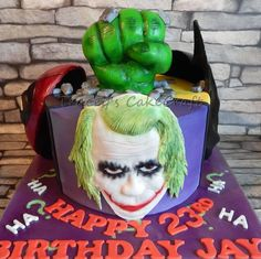 Marvel / DC supehero / villain cake. Joker, Deadpool, Batman,Hulk. All handmade & edible.