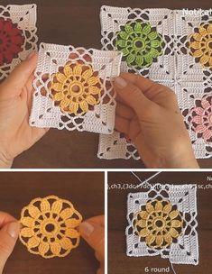 Kate's Crochet World Crochet Bedspread Pattern, Crochet Motifs, Granny Square Crochet Pattern, Crochet Blocks, Crochet Flower Patterns, Crochet Diagram, Crochet Stitches Patterns, Crochet Squares, Crochet Granny